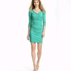 DVF Bentley Dress Three Quarter Sleeve Green